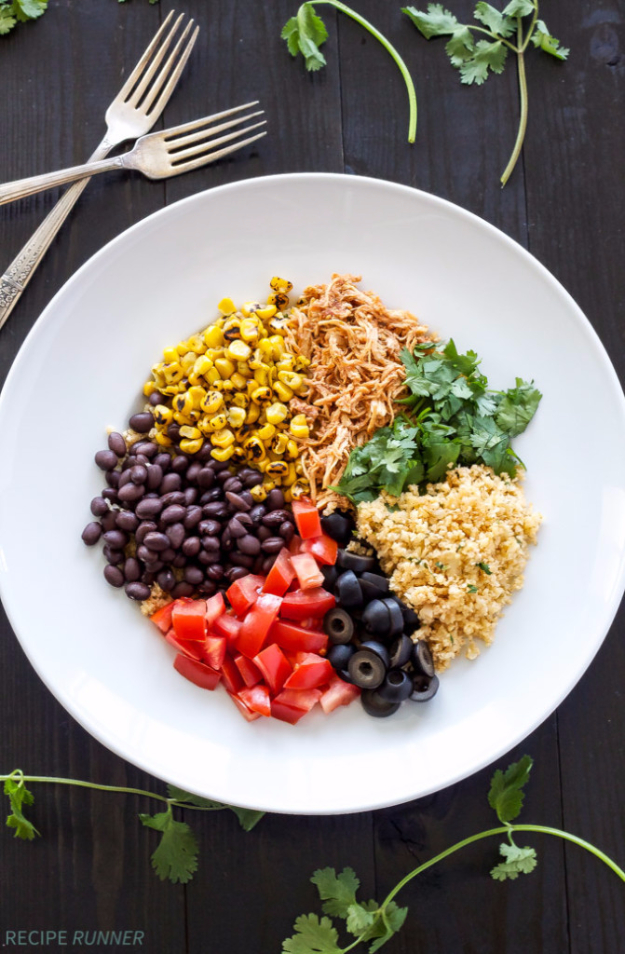 Healthy Lunch Ideas for Work - Chicken Enchilada Cauliflower Rice Bowls - Quick and Easy Recipes You Can Pack for Lunches at the Office - Lowfat and Simple Ideas for Eating on the Job - Microwave, No Heat, Mason Jar Salads, Sandwiches, Wraps, Soups and Bowls