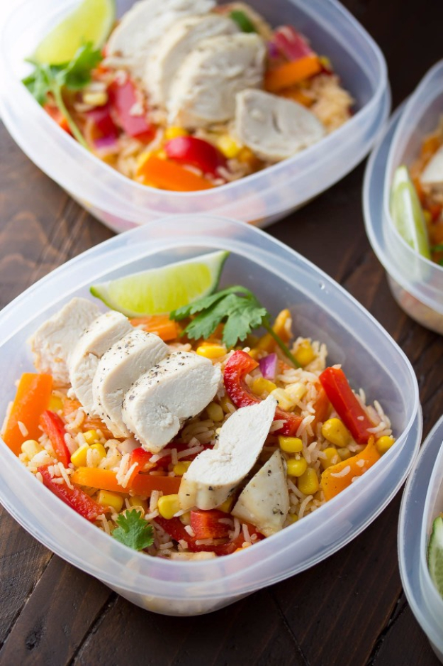 Healthy Lunch Ideas for Work - Chicken Fajita Lunch Bowls - Quick and Easy Recipes You Can Pack for Lunches at the Office - Lowfat and Simple Ideas for Eating on the Job - Microwave, No Heat, Mason Jar Salads, Sandwiches, Wraps, Soups and Bowls