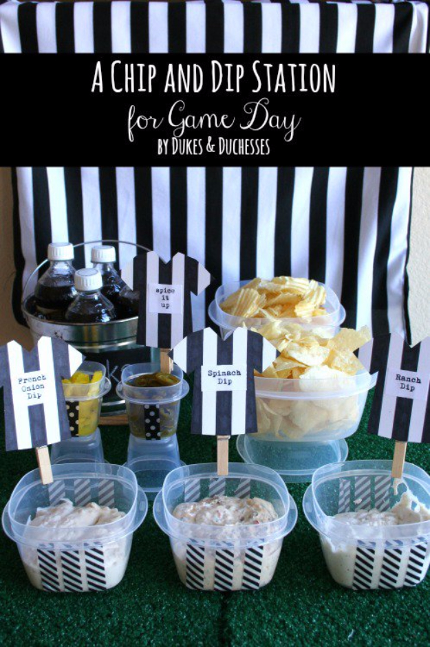 DIY Projects for the Sports Fan - Chip And Dip Station For Game Day - Crafts and DIY Ideas for Men - Football, Baseball, Basketball, Soccer and Golf - Wall Art, DIY Gifts, Easy Gift Ideas, Room and Home Decor #sports #diygifts #giftsformen