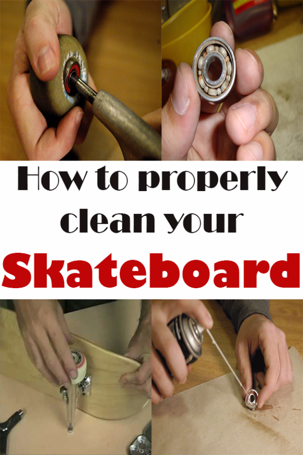 DIY Projects for the Sports Fan - Clean Your Skateboard Properly - Crafts and DIY Ideas for Men - Football, Baseball, Basketball, Soccer and Golf - Wall Art, DIY Gifts, Easy Gift Ideas, Room and Home Decor http://diyjoy.com/diy-ideas-sports-fan