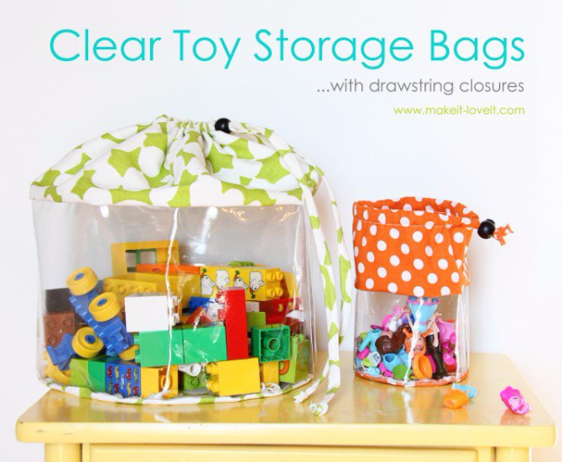 DIY Organizing Ideas for Kids Rooms - Clear Toy Storage Bags - Easy Storage Projects for Boy and Girl Room - Step by Step Tutorials to Get Toys, Books, Baby Gear, Games and Clothes Organized #diy #kids #organizing