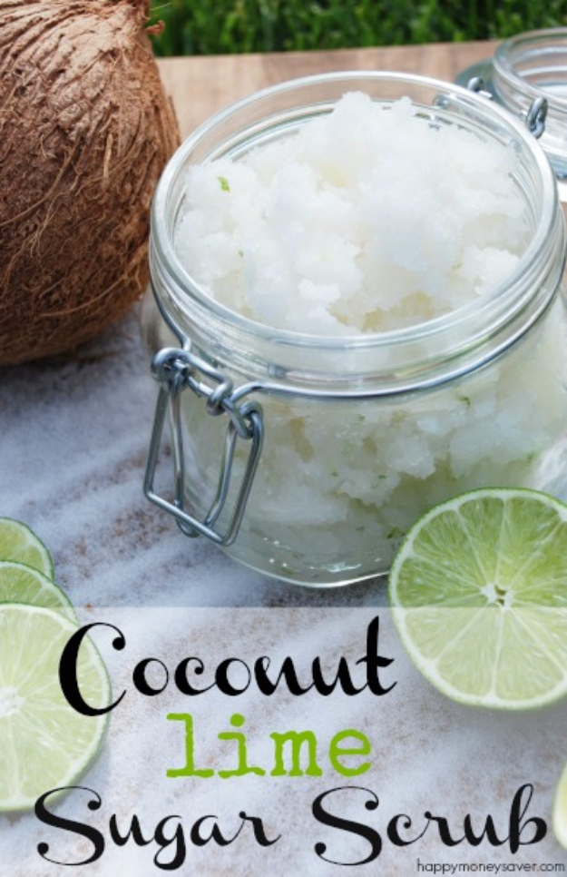DIY Sugar Scrub Recipes - Coconut Lime Sugar Scrub - Easy and Quick Beauty Products You Can Make at Home - Cool and Cheap DIY Gift Ideas for Homemade Presents Women, Girls and Teens Love - Natural Recipe Ideas for Making Sugar Scrub With Step by Step Tutorials
