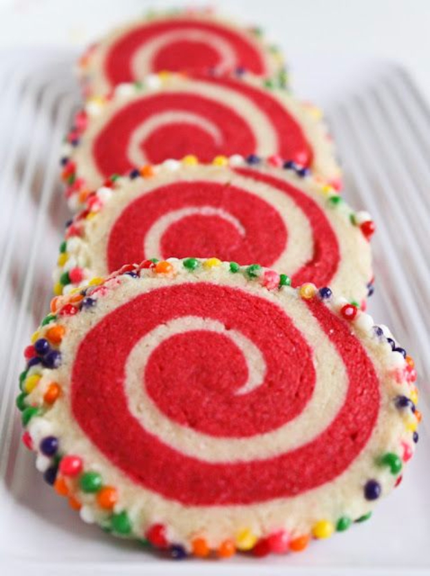DIY Valentines Day Cookies - Colorful Spiral Cookies - Easy Cookie Recipes and Recipe Ideas for Valentines Day - Cute DIY Decorated Cookies for Kids, Homemade Box Cookies and Bouquet Ideas - Sugar Cookie Icing Tutorials With Step by Step Instructions - Quick, Cheap Valentine Gift Ideas for Him and Her http://diyjoy.com/diy-valentines-day-cookie-recipes