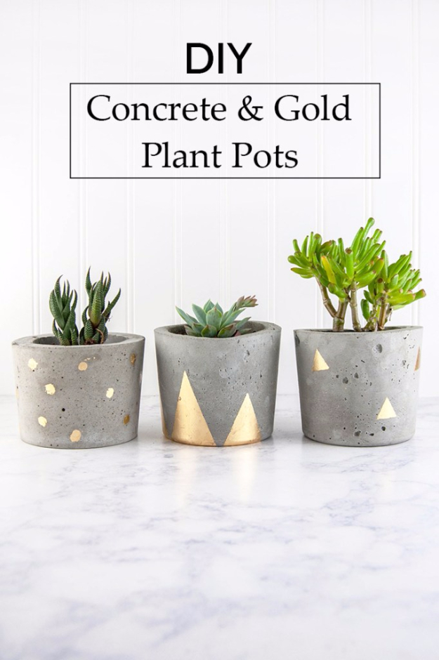 DIY Projects Made With Concrete - Concrete And Gold DIY Plant Pots - Quick and Easy DIY Concrete Crafts - Cheap and creative countertops and ideas for floors, patio and porch decor, tables, planters, vases, frames, jewelry holder, home decor and DIY gifts. Modern, Rustic and Farmhouse Decor Ideas http://diyjoy.com/diy-projects-concrete