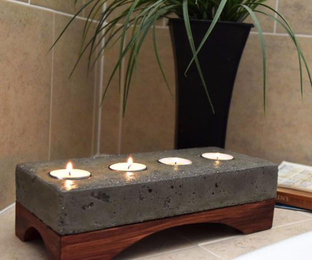 DIY Projects Made With Concrete - Concrete Candle Holder - Quick and Easy DIY Concrete Crafts - Cheap and creative countertops and ideas for floors, patio and porch decor, tables, planters, vases, frames, jewelry holder, home decor and DIY gifts