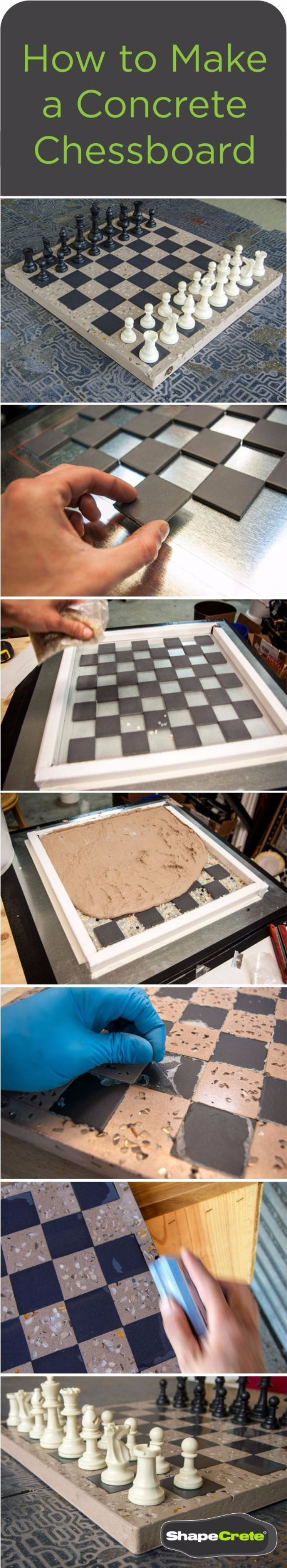 DIY Projects Made With Concrete - Concrete Chessboard - Quick and Easy DIY Concrete Crafts - Cheap and creative countertops and ideas for floors, patio and porch decor, tables, planters, vases, frames, jewelry holder, home decor and DIY gifts