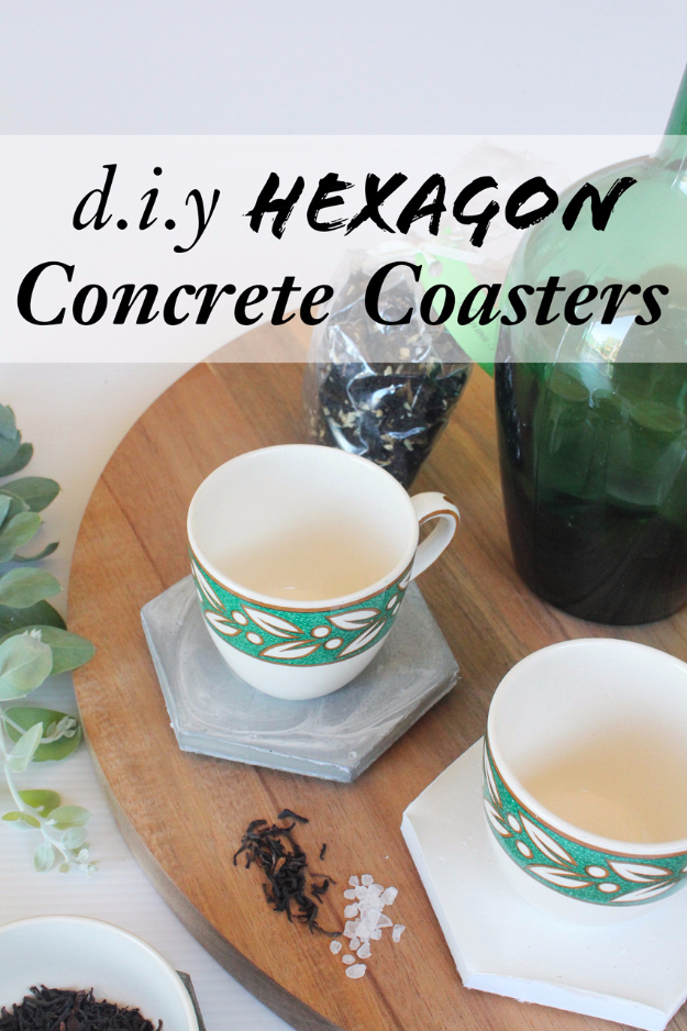 DIY Projects Made With Concrete - Concrete Hexagon Coasters - Quick and Easy DIY Concrete Crafts - Cheap and creative countertops and ideas for floors, patio and porch decor, tables, planters, vases, frames, jewelry holder, home decor and DIY gifts. Modern, Rustic and Farmhouse Decor Ideas http://diyjoy.com/diy-projects-concrete