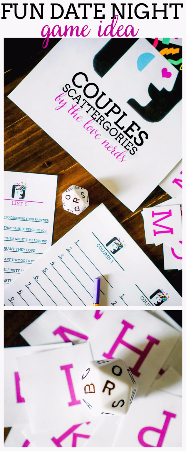 DIY Date Night Ideas - Couples Scattergories - Creative Ways to Go On Inexpensive Dates - Creative Ways for Couples to Spend Time Together creative date nights diy idea
