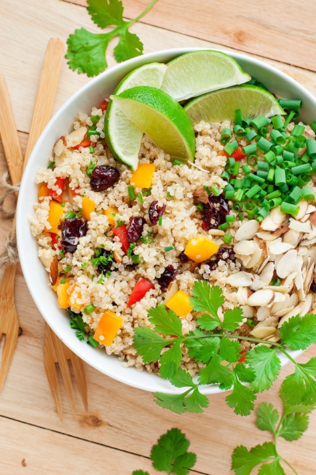 Healthy Lunch Ideas for Work - Cranberry Cilantro Quinoa Salad - Quick and Easy Recipes You Can Pack for Lunches at the Office - Lowfat and Simple Ideas for Eating on the Job - Microwave, No Heat, Mason Jar Salads, Sandwiches, Wraps, Soups and Bowls