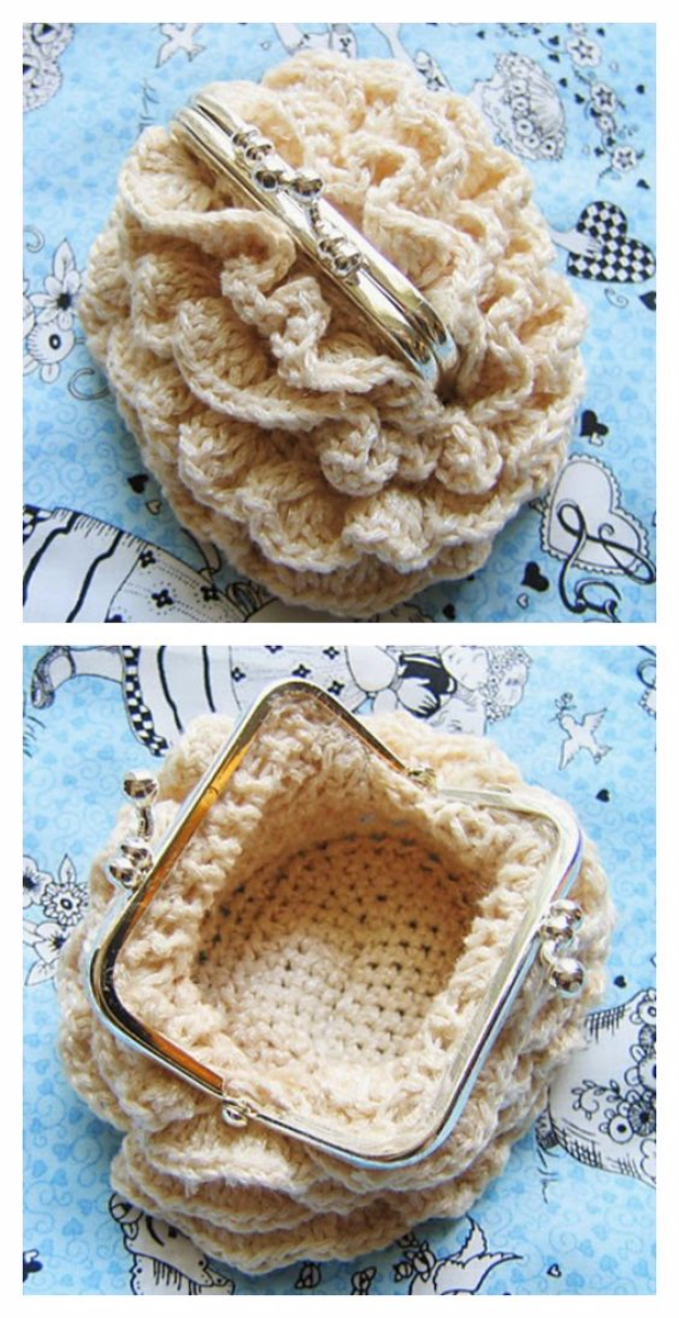 DIY Purses and Handbags - Crocheted Coin Purse - Homemade Projects to Decorate and Make Purses - Add Paint, Glitter, Buttons and Bling To Your Hand Bags and Purse With These Easy Step by Step Tutorials - Boho, Modern, and Cool Fashion Ideas for Women and Teens #purses #diyclothes #handbags