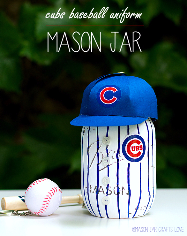 DIY Projects for the Sports Fan - Cubs Baseball Uniform Mason Jar - Crafts and DIY Ideas for Men - Football, Baseball, Basketball, Soccer and Golf - Wall Art, DIY Gifts, Easy Gift Ideas, Room and Home Decor http://diyjoy.com/diy-ideas-sports-fan