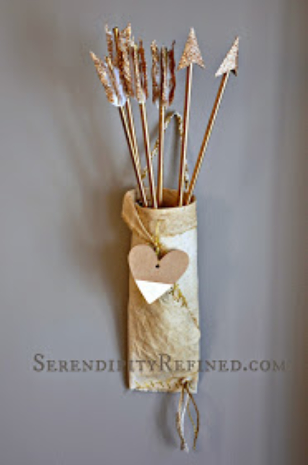 Best DIY Valentines Day Gifts - Cupid Arrows And Quiver - Cute Mason Jar Valentines Day Gifts and Crafts for Him and Her | Boyfriend, Girlfriend, Mom and Dad, Husband or Wife, Friends - Easy DIY Ideas for Valentines Day for Homemade Gift Giving and Room Decor | Creative Home Decor and Craft Projects for Teens, Teenagers, Kids and Adults http://diyjoy.com/diy-valentines-day-gift-ideas
