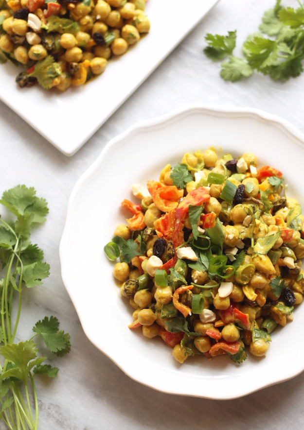 Healthy Lunch Ideas for Work - Curried Chickpea Salad - Quick and Easy Recipes You Can Pack for Lunches at the Office - Lowfat and Simple Ideas for Eating on the Job - Microwave, No Heat, Mason Jar Salads, Sandwiches, Wraps, Soups and Bowls