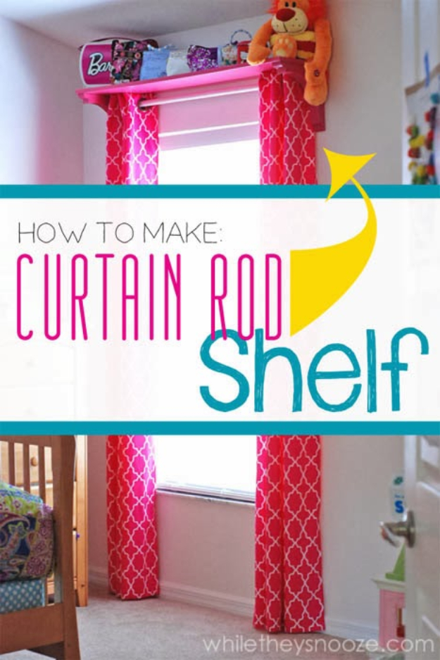 DIY Organizing Ideas for Kids Rooms - Curtain Rod Shelf - Easy Storage Projects for Boy and Girl Room - Step by Step Tutorials to Get Toys, Books, Baby Gear, Games and Clothes Organized - Quick and Cheap Shelving, Tables, Toy Boxes, Closet Tips, Bookcases and Dressers - DIY Projects and Crafts http://diyjoy.com/diy-organizing-ideas-kids-rooms