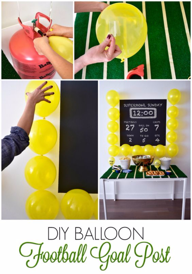 DIY Projects for the Sports Fan - DIY Balloon Football Goal Post - Crafts and DIY Ideas for Men - Football, Baseball, Basketball, Soccer and Golf - Wall Art, DIY Gifts, Easy Gift Ideas, Room and Home Decor http://diyjoy.com/diy-ideas-sports-fan