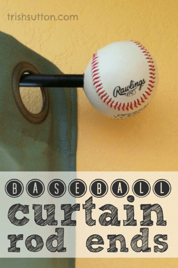 DIY Projects for the Sports Fan - DIY Baseball Curtain Rod Ends - Crafts and DIY Ideas for Men - Football, Baseball, Basketball, Soccer and Golf - Wall Art, DIY Gifts, Easy Gift Ideas, Room and Home Decor http://diyjoy.com/diy-ideas-sports-fan