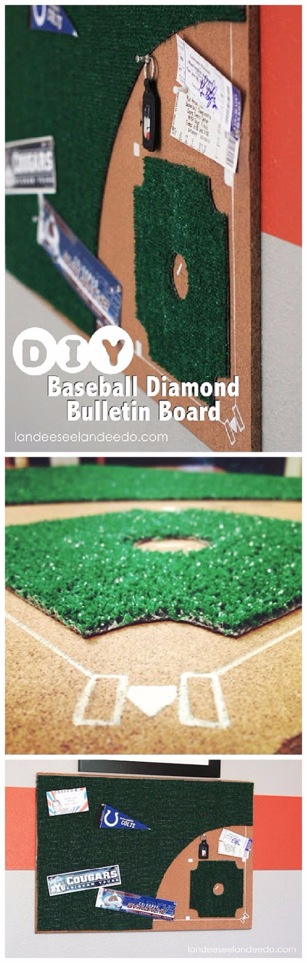 DIY Projects for the Sports Fan - DIY Baseball Diamond Bulletin Board - Crafts and DIY Ideas for Men - Football, Baseball, Basketball, Soccer and Golf - Wall Art, DIY Gifts, Easy Gift Ideas, Room and Home Decor #sports #diygifts #giftsformen