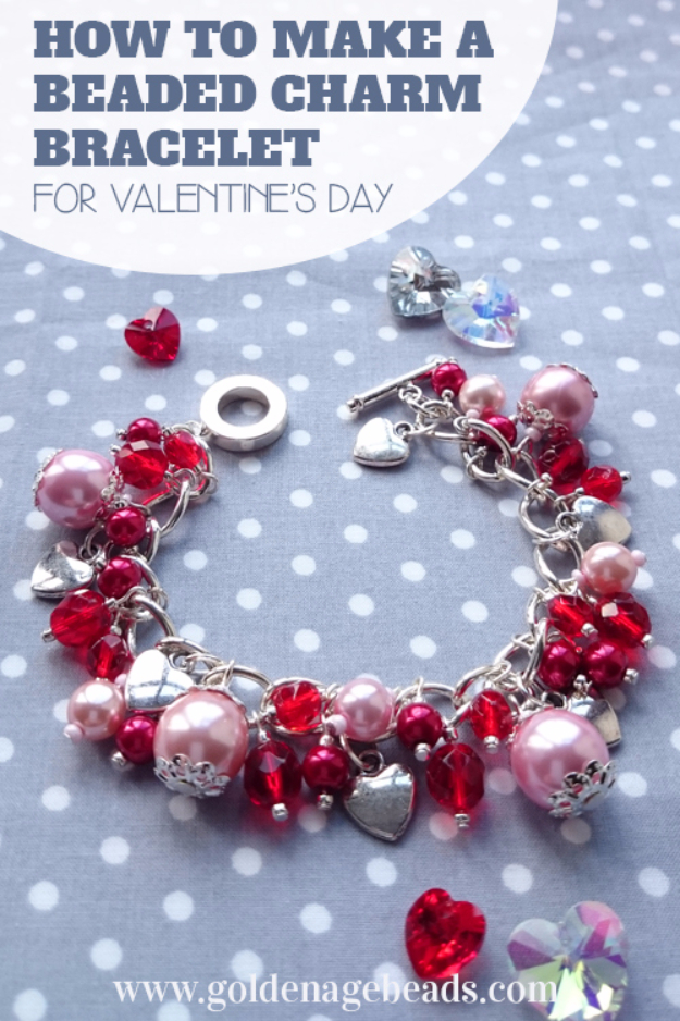 Best DIY Valentines Day Gifts - DIY Beaded Charm Bracelet - Cute Mason Jar Valentines Day Gifts and Crafts for Him and Her | Boyfriend, Girlfriend, Mom and Dad, Husband or Wife, Friends - Easy DIY Ideas for Valentines Day for Homemade Gift Giving and Room Decor | Creative Home Decor and Craft Projects for Teens, Teenagers, Kids and Adults