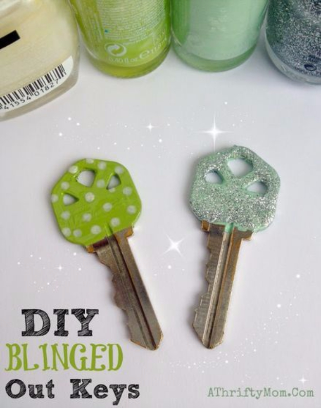 DIY Nail Polish Crafts - DIY Blinged Out Keys - Easy and Cheap Craft Ideas for Girls, Teens, Tweens and Adults | Fun and Cool DIY Projects You Can Make With Fingernail Polish - Do It Yourself Wire Flowers, Glue Gun Craft Projects and Jewelry Made From nailpolish - Water Marble Tutorials and How To With Step by Step Instructions s