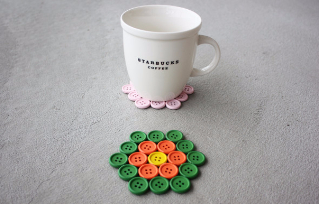 DIY Projects and Crafts Made With Buttons - DIY Button Coasters - Easy and Quick Projects You Can Make With Buttons - Cool and Creative Crafts, Sewing Ideas and Homemade Gifts for Women, Teens, Kids and Friends - Home Decor, Fashion and Cheap, Inexpensive Fun Things to Make on A Budget