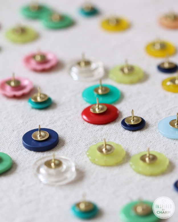 DIY Projects and Crafts Made With Buttons - DIY Button Thumb Tacks - Easy and Quick Projects You Can Make With Buttons - Cool and Creative Crafts, Sewing Ideas and Homemade Gifts for Women, Teens, Kids and Friends - Home Decor, Fashion and Cheap, Inexpensive Fun Things to Make on A Budget