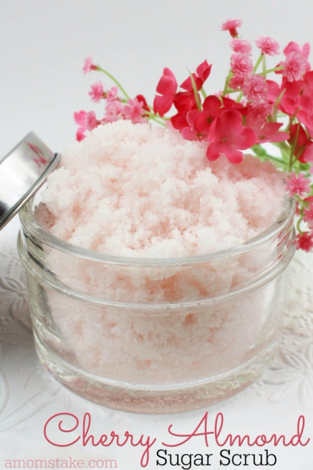 DIY Sugar Scrub Recipes - DIY Cherry Almond Sugar Scrub - Easy and Quick Beauty Products You Can Make at Home - Cool and Cheap DIY Gift Ideas for Homemade Presents Women, Girls and Teens Love - Natural Recipe Ideas for Making Sugar Scrub With Step by Step Tutorials