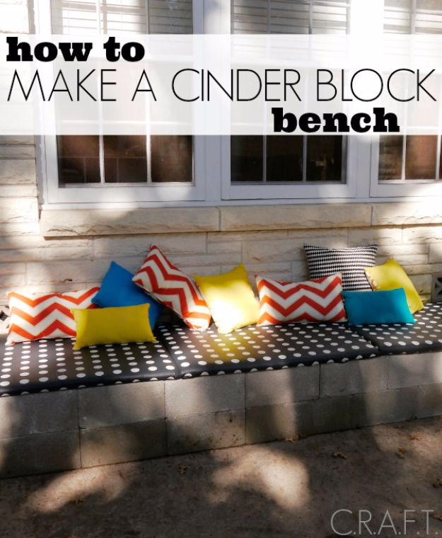 DIY Ideas for the Outdoors - DIY Cinder Block Bench - Best Do It Yourself Ideas for Yard Projects, Camping, Patio and Spending Time in Garden and Outdoors - Step by Step Tutorials and Project Ideas for Backyard Fun, Cooking and Seating