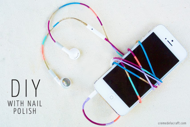 DIY Nail Polish Crafts - DIY Colored Headphones - Easy and Cheap Craft Ideas for Girls, Teens, Tweens and Adults   Fun and Cool DIY Projects You Can Make With Fingernail Polish - Do It Yourself Wire Flowers, Glue Gun Craft Projects and Jewelry Made From nailpolish - Water Marble Tutorials and How To With Step by Step Instructions http://diyjoy.com/nail-polish-crafts