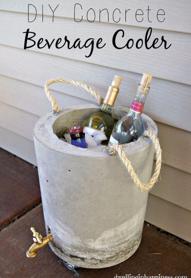 DIY Projects Made With Concrete - DIY Concrete Beverage Cooler - Quick and Easy DIY Concrete Crafts - Cheap and creative countertops and ideas for floors, patio and porch decor, tables, planters, vases, frames, jewelry holder, home decor and DIY gifts