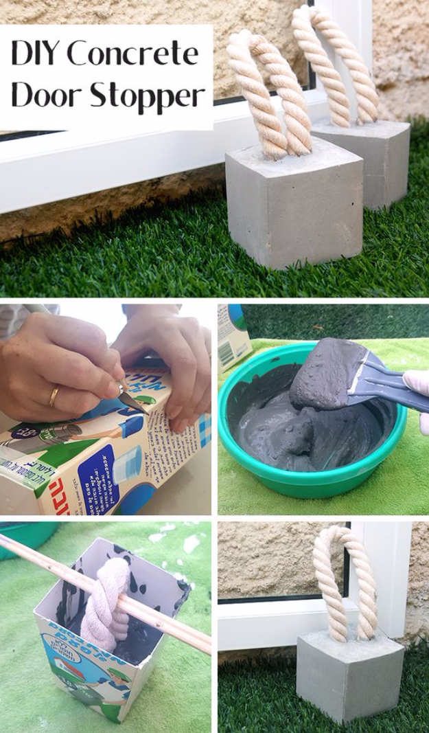 DIY Projects Made With Concrete - DIY Concrete Door Stopper - Quick and Easy DIY Concrete Crafts - Cheap and creative countertops and ideas for floors, patio and porch decor, tables, planters, vases, frames, jewelry holder, home decor and DIY gifts