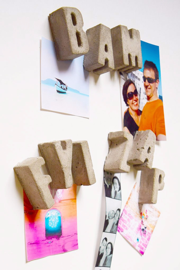 DIY Projects Made With Concrete - DIY Concrete Letter Magnets - Quick and Easy DIY Concrete Crafts - Cheap and creative countertops and ideas for floors, patio and porch decor, tables, planters, vases, frames, jewelry holder, home decor and DIY gifts