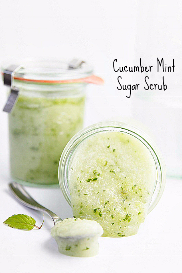DIY Sugar Scrub Recipes - DIY Cucumber Mint Sugar Scrub - Easy and Quick Beauty Products You Can Make at Home - Cool and Cheap DIY Gift Ideas for Homemade Presents Women, Girls and Teens Love - Natural Recipe Ideas for Making Sugar Scrub With Step by Step Tutorials