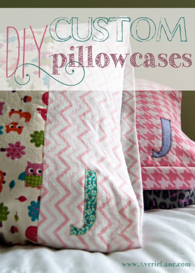 DIY Pillowcases - DIY Custom Pillowcases - Easy Sewing Projects for Pillows - Bedroom and Home Decor Ideas - Sewing Patterns and Tutorials - No Sew Ideas - DIY Projects and Crafts for Women #sewing #diydecor #pillows