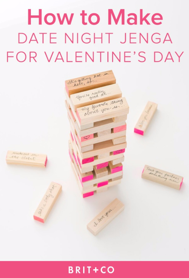DIY Date Night Ideas - DIY Date Night Jenga - Creative Ways to Go On Inexpensive Dates - Creative Ways for Couples to Spend Time Together creative date nights diy idea