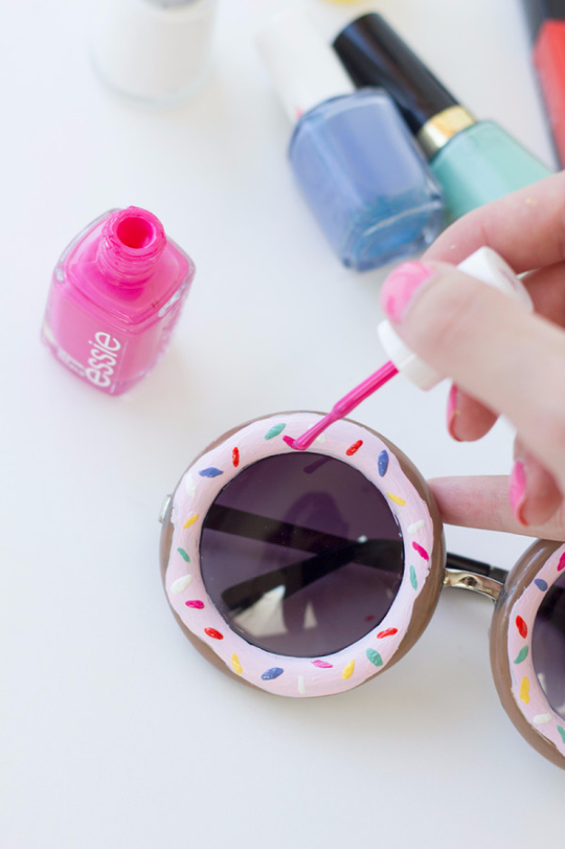DIY Nail Polish Crafts - DIY Donut Sunglasses - Easy and Cheap Craft Ideas for Girls, Teens, Tweens and Adults | Fun and Cool DIY Projects You Can Make With Fingernail Polish - Do It Yourself Wire Flowers, Glue Gun Craft Projects and Jewelry Made From nailpolish - Water Marble Tutorials and How To With Step by Step Instructions s