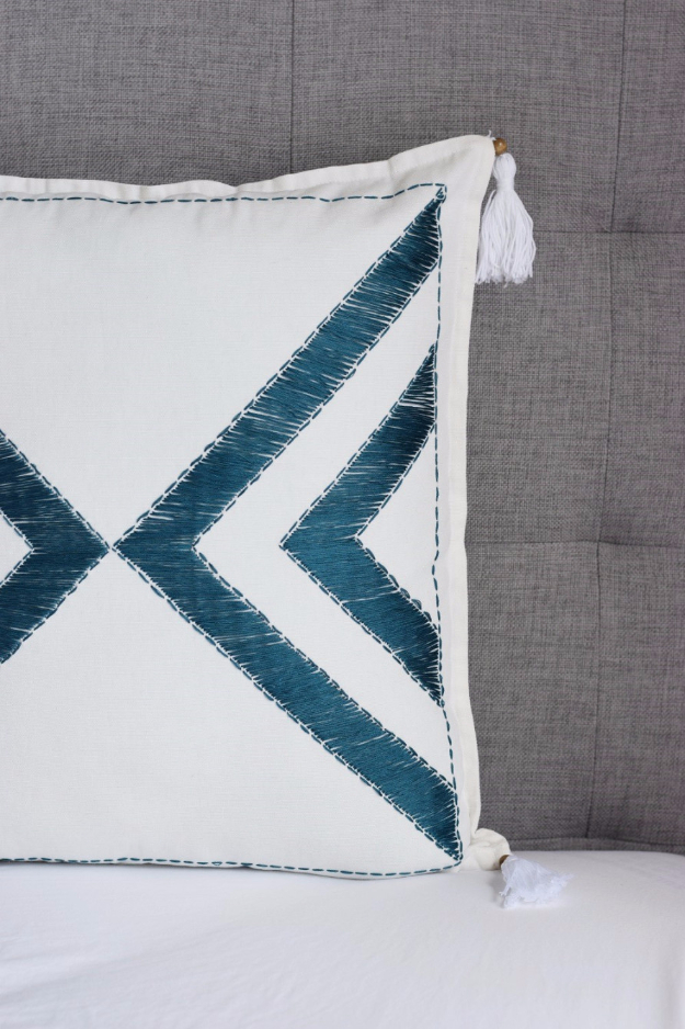 DIY Pillowcases - DIY Embroidered Tassel Pillow Case - Easy Sewing Projects for Pillows - Bedroom and Home Decor Ideas - Sewing Patterns and Tutorials - No Sew Ideas - DIY Projects and Crafts for Women #sewing #diydecor #pillows