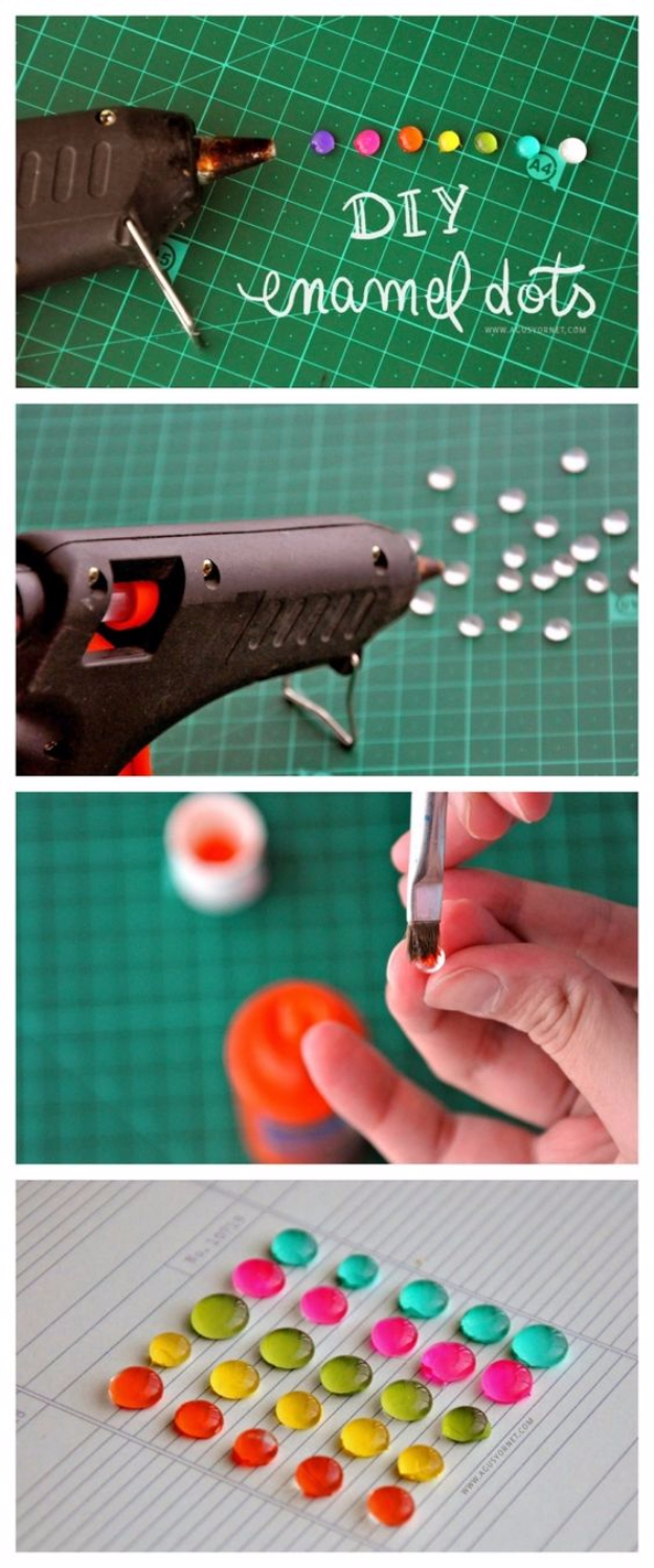 DIY Nail Polish Crafts - DIY Enamel Dots - Easy and Cheap Craft Ideas for Girls, Teens, Tweens and Adults | Fun and Cool DIY Projects You Can Make With Fingernail Polish - Do It Yourself Wire Flowers, Glue Gun Craft Projects and Jewelry Made From nailpolish - Water Marble Tutorials and How To With Step by Step Instructions s