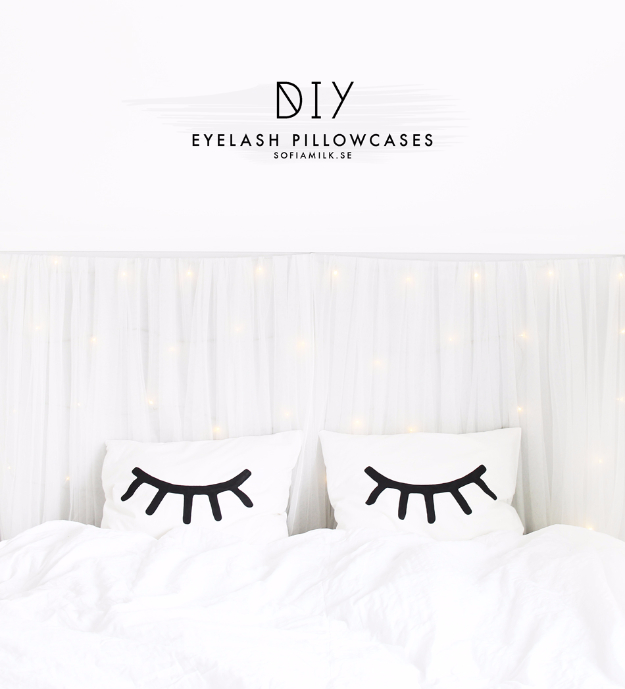 DIY Pillowcases - DIY Eyelash Pillowcase - Easy Sewing Projects for Pillows - Bedroom and Home Decor Ideas - Sewing Patterns and Tutorials - No Sew Ideas - DIY Projects and Crafts for Women #sewing #diydecor #pillows