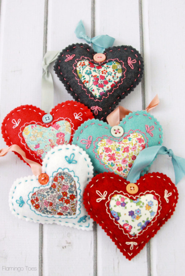 Best DIY Valentines Day Gifts - DIY Fabric Heart Valentines - Cute Mason Jar Valentines Day Gifts and Crafts for Him and Her | Boyfriend, Girlfriend, Mom and Dad, Husband or Wife, Friends - Easy DIY Ideas for Valentines Day for Homemade Gift Giving and Room Decor | Creative Home Decor and Craft Projects for Teens, Teenagers, Kids and Adults http://diyjoy.com/diy-valentines-day-gift-ideas