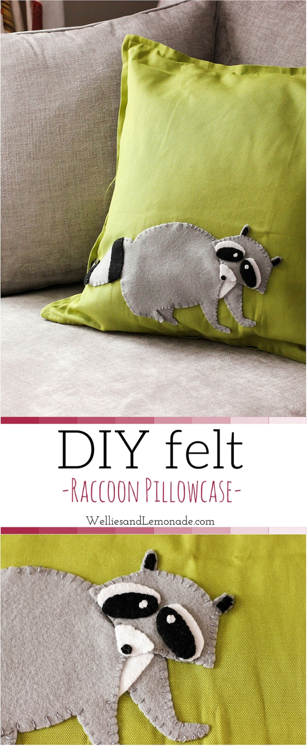 DIY Pillowcases - DIY Felt Raccoon Pillowcase - Easy Sewing Projects for Pillows - Bedroom and Home Decor Ideas - Sewing Patterns and Tutorials - No Sew Ideas - DIY Projects and Crafts for Women #sewing #diydecor #pillows