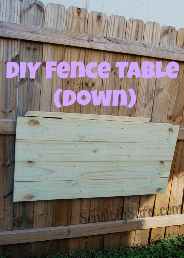 DIY Ideas for the Outdoors - DIY Fence Table - Best Do It Yourself Ideas for Yard Projects, Camping, Patio and Spending Time in Garden and Outdoors - Step by Step Tutorials and Project Ideas for Backyard Fun, Cooking and Seating #diy