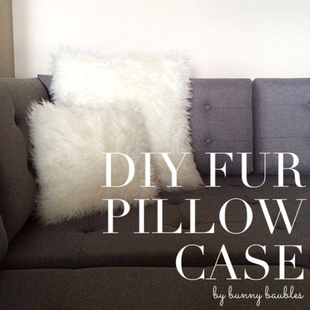 DIY Pillowcases - DIY Fur Pillow Cases - Easy Sewing Projects for Pillows - Bedroom and Home Decor Ideas - Sewing Patterns and Tutorials - No Sew Ideas - DIY Projects and Crafts for Women #sewing #diydecor #pillows