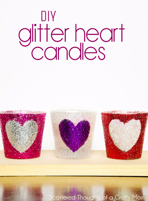 DIY Valentine Decor Ideas - DIY Glitter Heart Candles - Cute and Easy Home Decor Projects for Valentines Day Decorating - Best Homemade Valentine Decorations for Home, Tables and Party, Kids and Outdoor - Romantic Vintage Ideas - Cheap Dollar Store and Dollar Tree Crafts