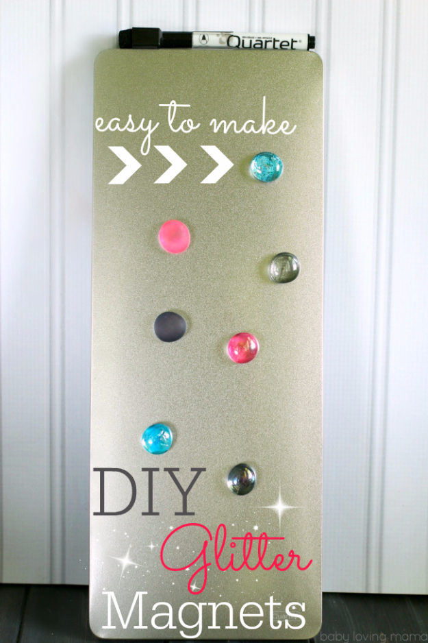 DIY Nail Polish Crafts - DIY Glitter Magnets - Easy and Cheap Craft Ideas for Girls, Teens, Tweens and Adults | Fun and Cool DIY Projects You Can Make With Fingernail Polish - Do It Yourself Wire Flowers, Glue Gun Craft Projects and Jewelry Made From nailpolish - Water Marble Tutorials and How To With Step by Step Instructions http://diyjoy.com/nail-polish-crafts
