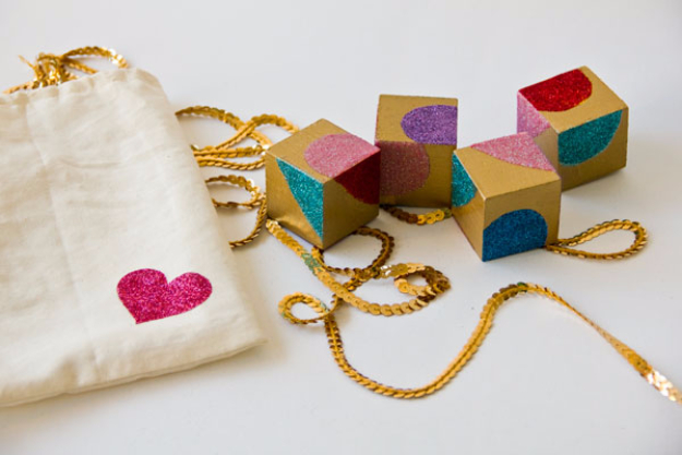 Best DIY Valentines Day Gifts - DIY Glittery Block Puzzle Valentines - Cute Mason Jar Valentines Day Gifts and Crafts for Him and Her | Boyfriend, Girlfriend, Mom and Dad, Husband or Wife, Friends - Easy DIY Ideas for Valentines Day for Homemade Gift Giving and Room Decor | Creative Home Decor and Craft Projects for Teens, Teenagers, Kids and Adults