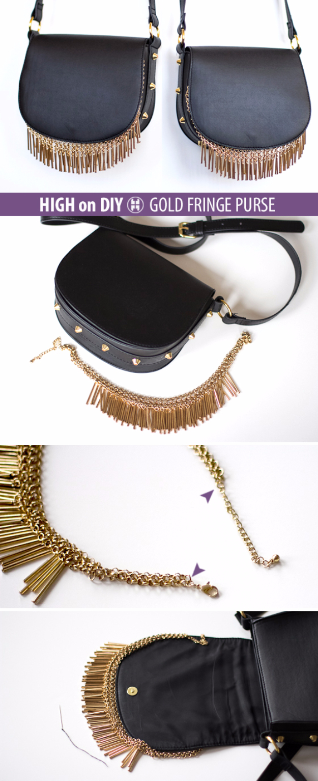 DIY Purses and Handbags - DIY Gold Fringe Purse DIY - Homemade Projects to Decorate and Make Purses - Add Paint, Glitter, Buttons and Bling To Your Hand Bags and Purse With These Easy Step by Step Tutorials - Boho, Modern, and Cool Fashion Ideas for Women and Teens #purses #diyclothes #handbags