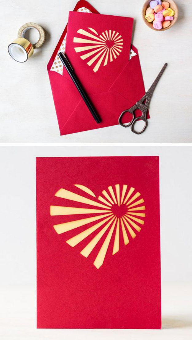 DIY Valentines Day Cards - DIY Heartburst Valentine's Day Card - Easy Handmade Cards for Him and Her, Kids, Freinds and Teens - Funny, Romantic, Printable Ideas for Making A Unique Homemade Valentine Card - Step by Step Tutorials and Instructions for Making Cute Valentine's Day Gifts #valentines
