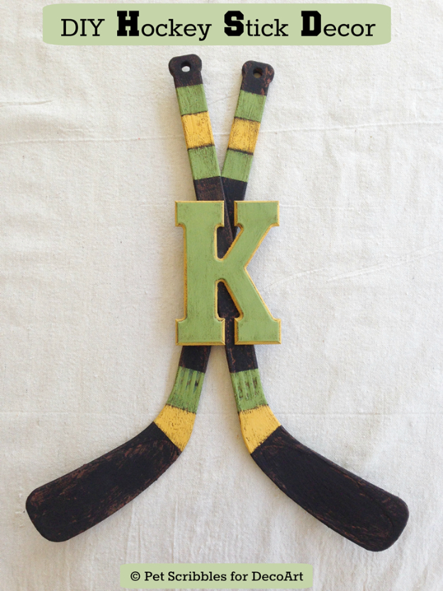 DIY Projects for the Sports Fan - DIY Hockey Stick Decor - Crafts and DIY Ideas for Men - Football, Baseball, Basketball, Soccer and Golf - Wall Art, DIY Gifts, Easy Gift Ideas, Room and Home Decor http://diyjoy.com/diy-ideas-sports-fan