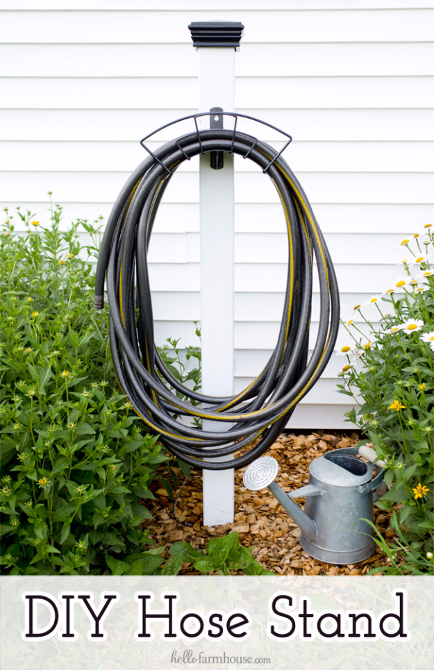 DIY Ideas for the Outdoors - DIY Hose Stand - Best Do It Yourself Ideas for Yard Projects, Camping, Patio and Spending Time in Garden and Outdoors - Step by Step Tutorials and Project Ideas for Backyard Fun, Cooking and Seating