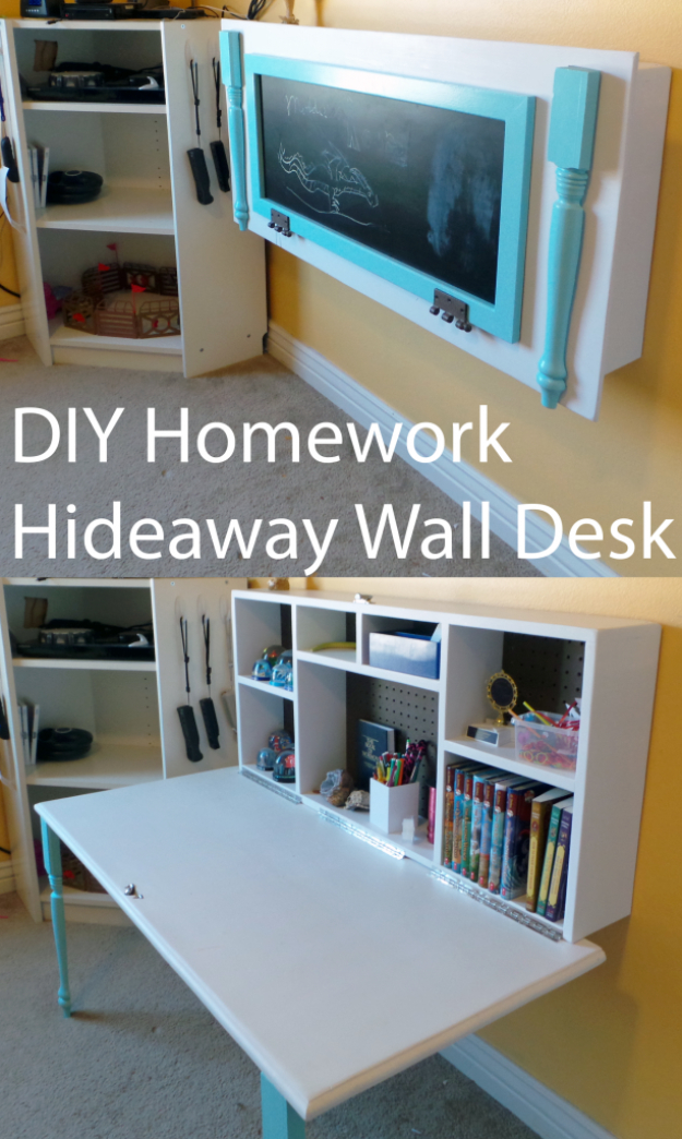 DIY Organizing Ideas for Kids Rooms - DIY Kids Homework Hideaway Wall Desk - Easy Storage Projects for Boy and Girl Room - Step by Step Tutorials to Get Toys, Books, Baby Gear, Games and Clothes Organized #diy #kids #organizing